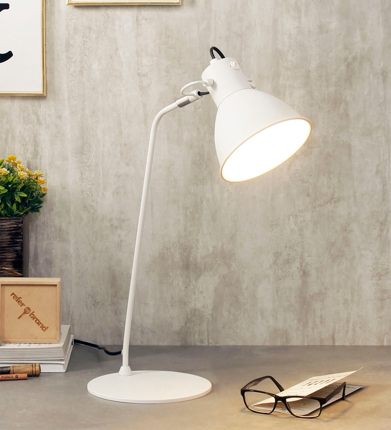 White Metal Desk Lamps by Jainsons Emporio