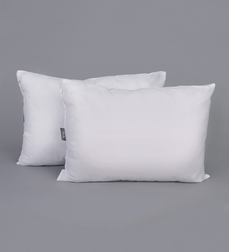 White Polyester 14 x 20 Inch Pillows - Set of 2 by SWHF