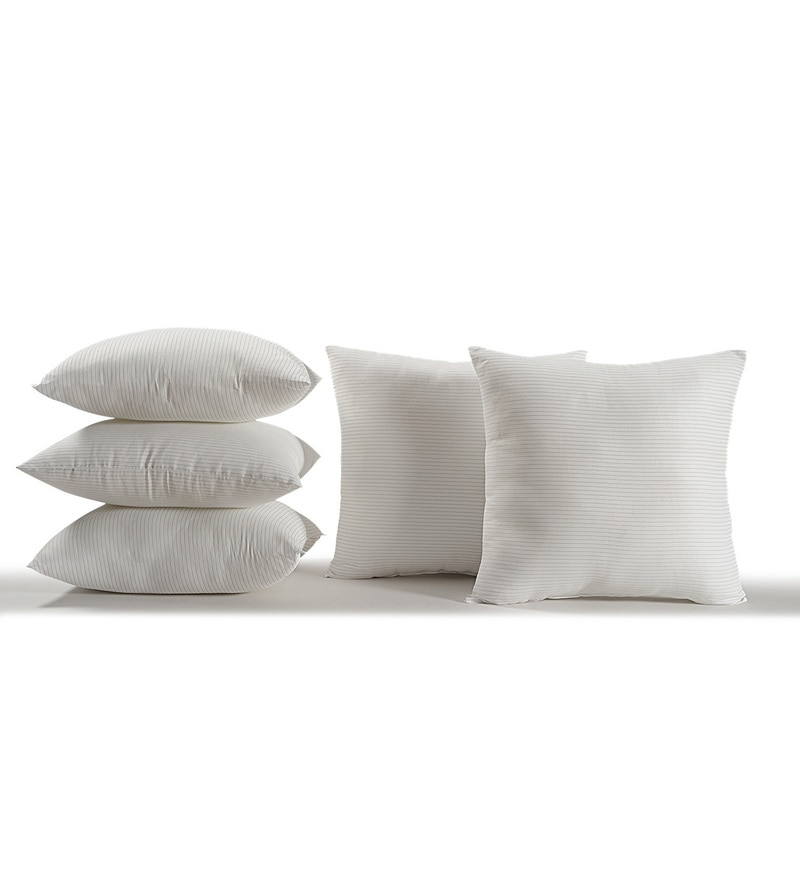 White Polyester 16 x 16 Inch Cushion Inserts - Set of 5 by Swayam