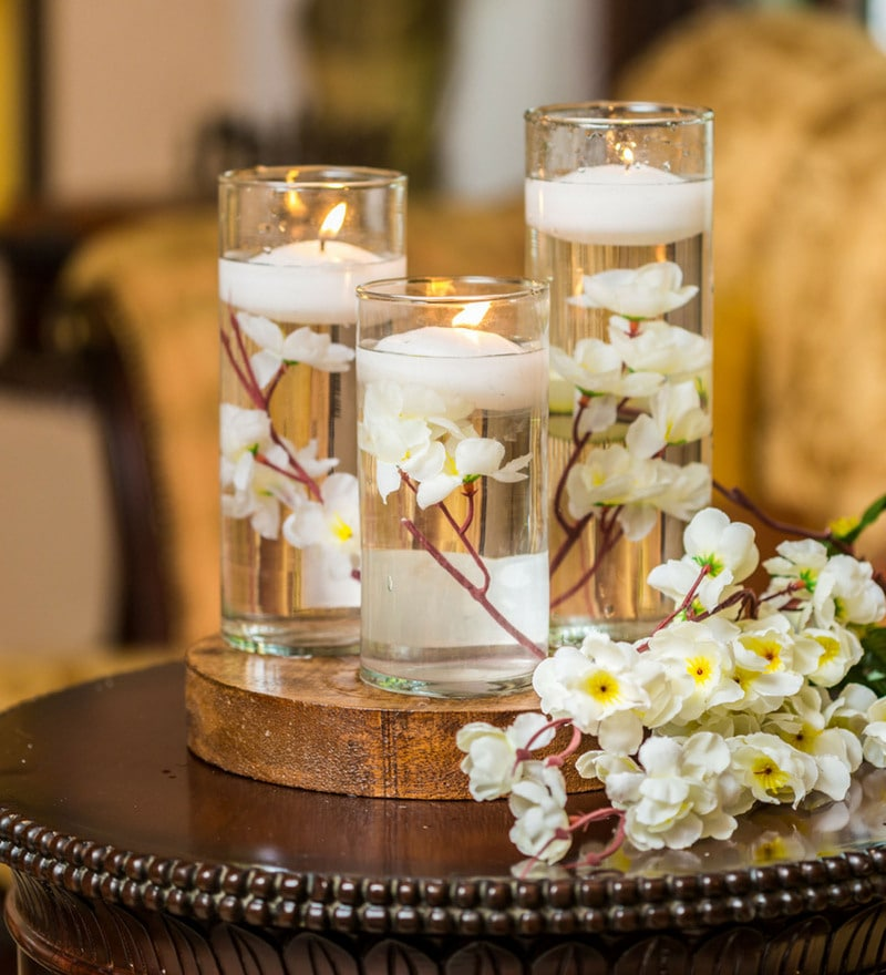 Decor Wood & Glass Floating Scented Candles
