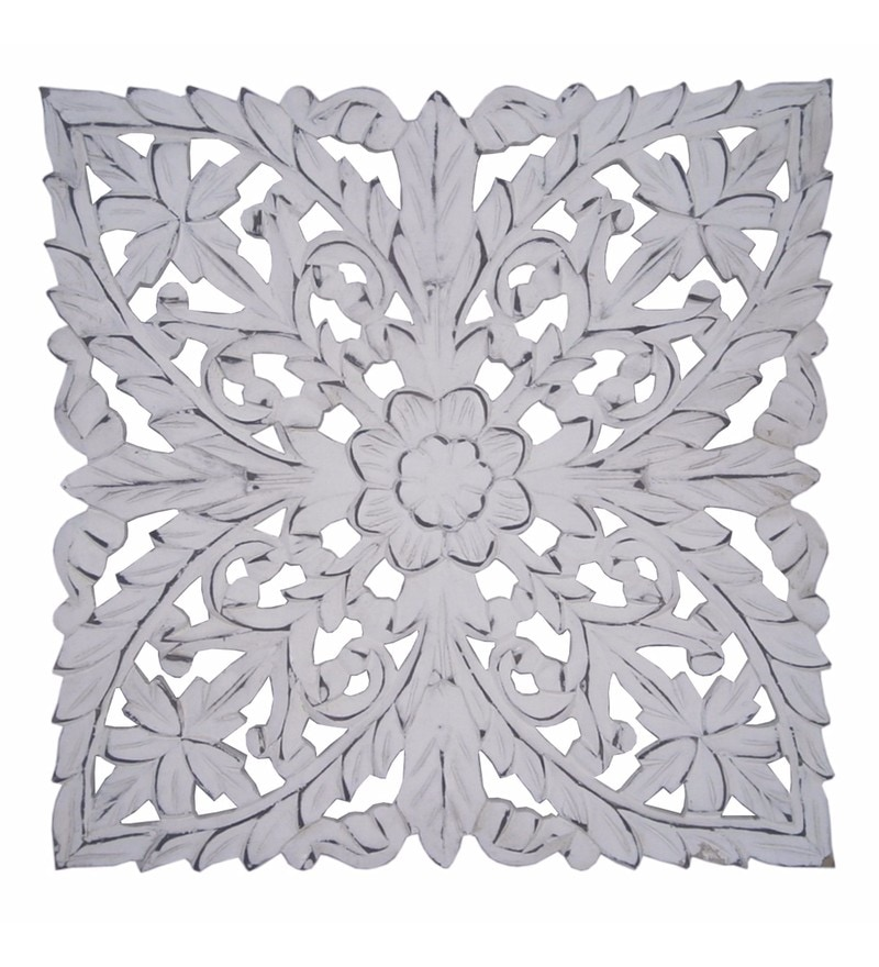 White Wooden Carved Wall Hangings by Golmaalshop