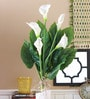 White Polyester Artificial Calla White Lily Plant by Fourwalls