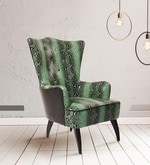 Designer Wing Chair in Green Upholstery