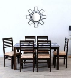 Winlock Six Seater Dining Set In Warm Chestnut Finish