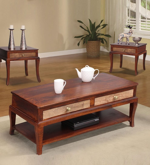 Wilma Coffee Table In Light Honey And Walnut Finish By Peachtree