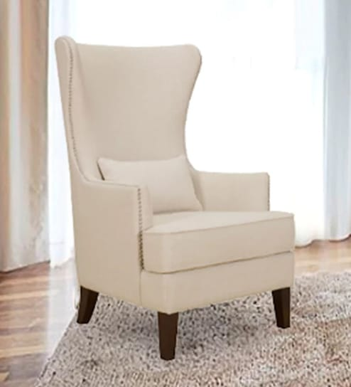Buy Wing Chair With Nailhead Trim In Beige Colour By Dreamzz