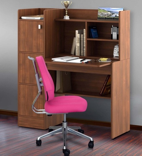 Wonderful Winner Study Table In Rigato Walnut Finish By Spacewood Part 7
