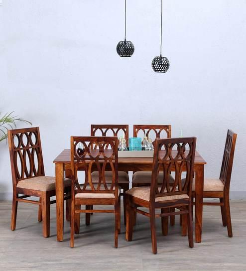Wisconsin Six Seater Dining Set In Honey Oak Finish