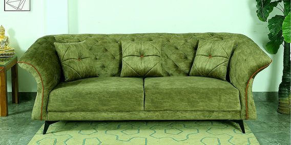 William Three Seater Fabric Sofa in Green by Hollywood Furniture