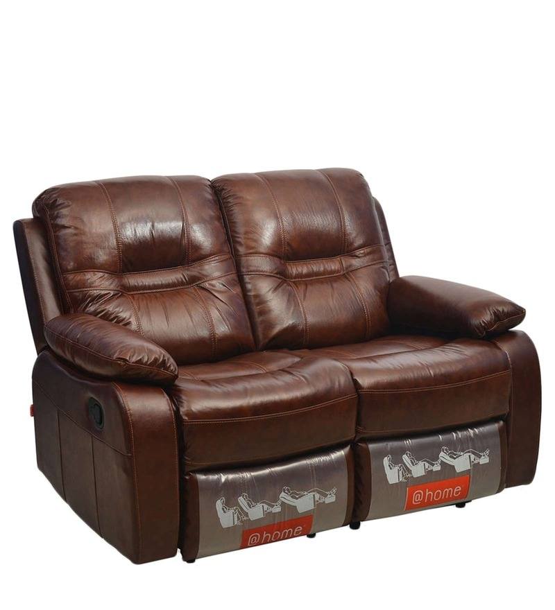 Wilson Two Seater Sofa with Rocker Recliner in Caramel Colour by @Home