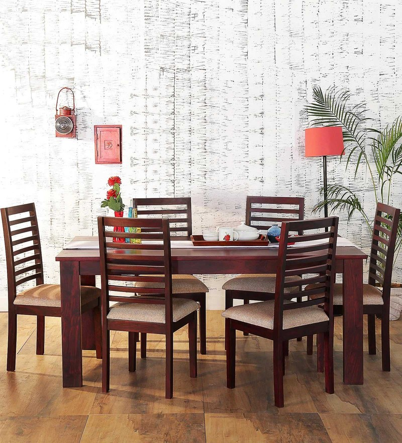 Winona Six Seater Dining Set in Passion Mahogany Finish by Woodsworth
