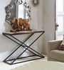 Williams X Shape Console Table in Black & Brown Colour by Asian Arts