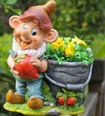 Gnome Holding Strawberry Planter with Artificial Flower