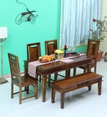 Woodway Solid Wood Six Seater Dining Set in Provincial Teak Finish