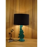 Woody Lamp House Black Poly Cotton Table Lamp