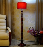 Red Poly Cotton Floor Lamp