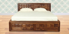 Woodrow Queen Size Bed with Storage in Honey Finish