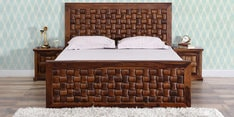 Woodway Queen Bed with Storage in Provincial Teak Finish