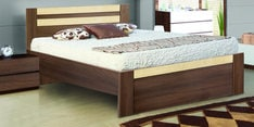 Woody King Size Bed in Acacia Dark & Maple Finish