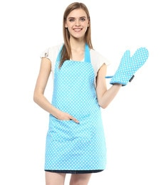Wobbly Walk Polka Dot Cotton Apron With Oven Glove - Set Of 2