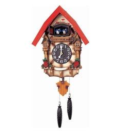 Wooden 12.6 X 6.3 X 21.4 Inch Auto Night Shut Off Sensor Hourly Mechanical Bird Chirping With Door Cuckoo Clock