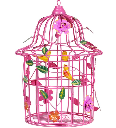 Buy Wonderland Big Size Decorative Bird Cage Pink Color With Metal