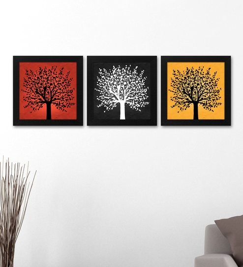 Buy Wood 12 X 0.5 X 12 Inch Tree Framed Art Panel by Story@Home ...