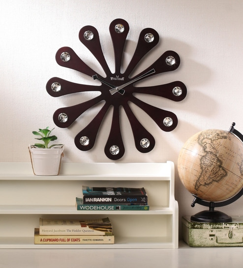 Buy Wood Craft Black Glass Mdf 15 9 Inch Round Wall Clock Online