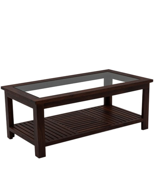 Wooden Coffee Table With Glass Top In Walnut Finish By House Of Furniture