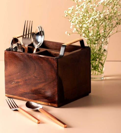 Groovy Wooden Cutlery Holder Spoon Stand With Black Handles With Cane 7X4 Inches By Nestroots Gamerscity Chair Design For Home Gamerscityorg