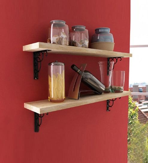 buy wooden shelf with wall brackets online contemporary wall rh pepperfry com buy wooden wall shelves online india buy wooden wall shelves online