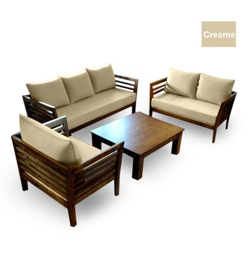 wooden sofa set 3 2 1 seater coffee table by furny online sofa sets furniture. Black Bedroom Furniture Sets. Home Design Ideas