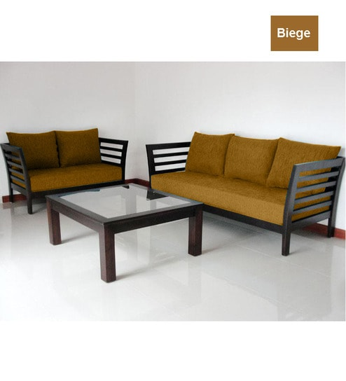 Cane Sofa Set Price In Delhi: Wooden Sofa Set (3+2 Seater) By Furny Online