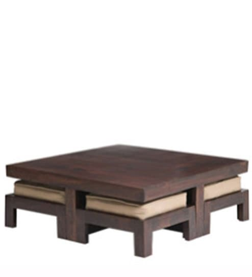 Wooden Square Coffee Table Set In Brown Colour By House Of Furniture