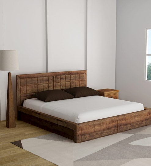 Buy Woodrow King Size Bed with Storage in Honey Finish by Hometown ...