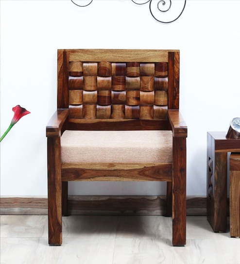 Woodway Solid Wood 1 Seater Sofa In Provincial Teak Finish By Woodsworth