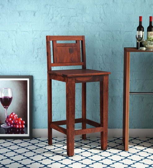 Buy Woodway Solid Wood Bar Stool In Honey Oak Finish By Woodsworth