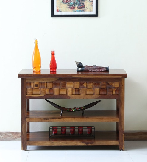 Woodway Solid Wood Console Table In Provincial Teak Finish By Woodsworth