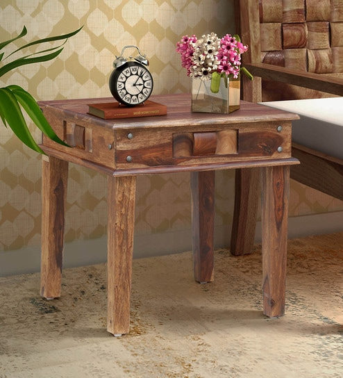 Woodway Solid Wood End Table In Rustic Teak Finish By Woodsworth