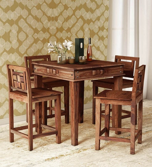 Buy Woodway Solid Wood Four Seater Dining Cum Bar Set In Rustic Teak