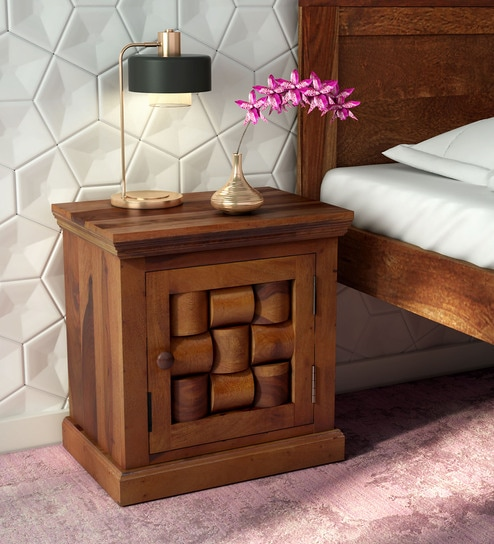 Get 52% Off on Furniture Contemporary Bedside Tables Woodway Solid Wood Right Door Bed Side Table in Provincial Teak Finish by Woodsworth