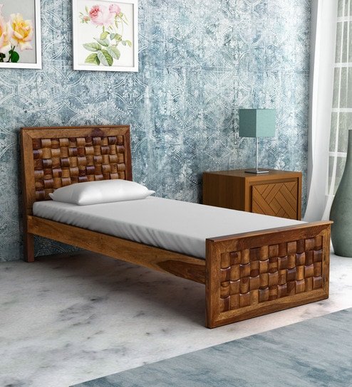 Woodway Solid Wood Single Bed In Rustic Teak Finish By Woodsworth