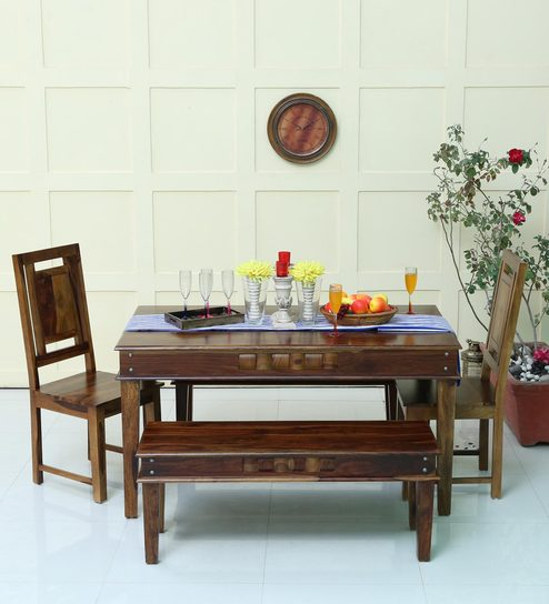 Woodway Solid Wood Six Seater Dining Set In Provincial Teak Finish By  Woodsworth