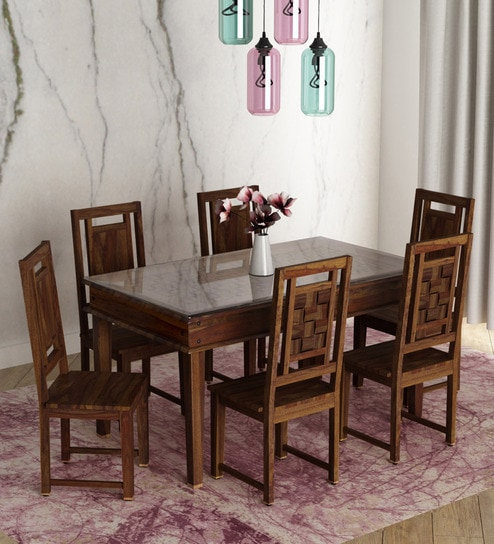 5465af304 Buy Woodway Solid Wood Six Seater Dining Set with Glass in Provincial Teak  Finish by Woodsworth Online - Six Seater Dining Sets - Dining - Furniture  ...
