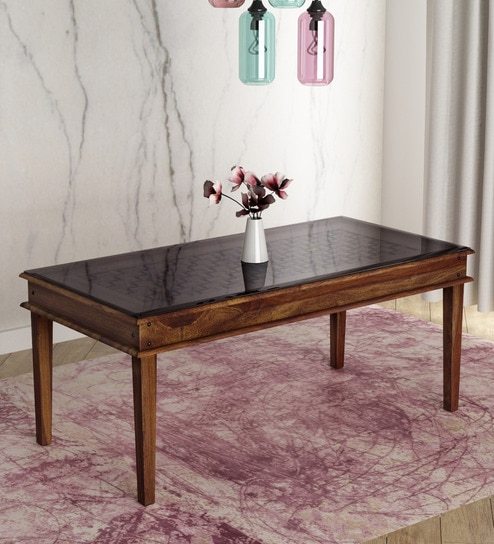Buy Woodway Solid Wood Six Seater Dining Table With Glass Top In