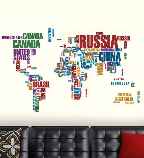 buy walltola world map with country names pvc vinyl wall sticker