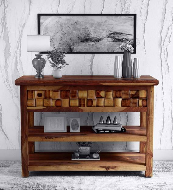 Woodway Solid Wood Console Table In Provincial Teak Finish Woodsworth By Pepperfry Transitional Tables Furniture - Solid Oak Console Table With Storage