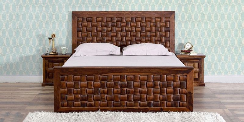 Woodway Queen Size Bed in Provincial Teak Finish by Woodsworth