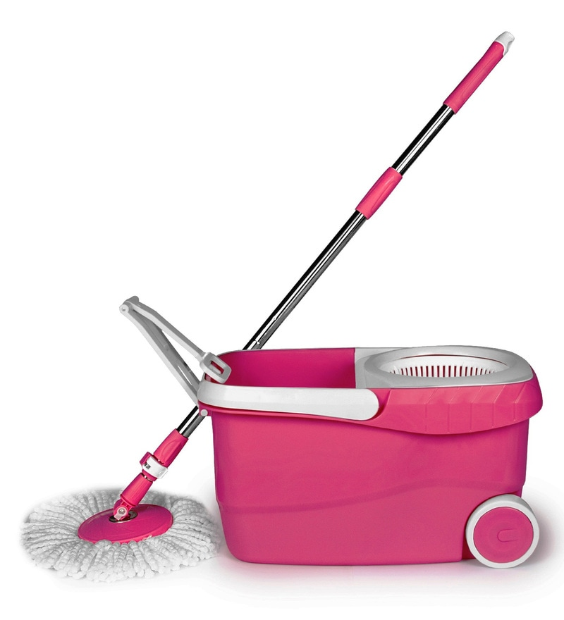 Buy Wonder Spin Mop Pink Floor Cleaning Set With Wheels