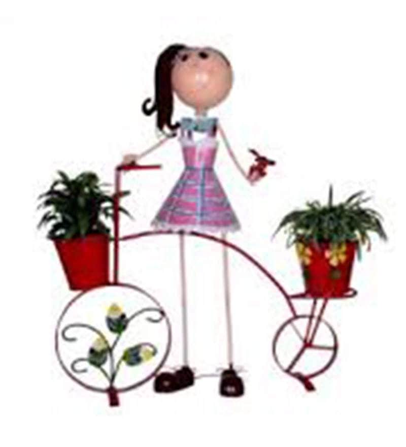 Girl with Red Bicycle & Two Pots Planter by Wonderland